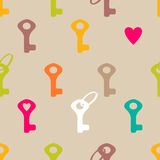 Keys and heart seamless pattern Stock Photo