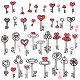 Keys of hearts hand-drawing set. Keys of hearts. Hand-drawing set of doodle keys. Easy to edit and recolor Royalty Free Stock Image