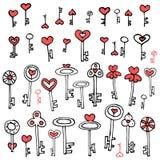 Keys of hearts hand-drawing set Royalty Free Stock Image