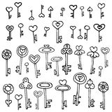 Keys of hearts hand-drawing set. Keys of hearts. Hand-drawing set of doodle keys. Easy to edit and recolor Royalty Free Stock Photography
