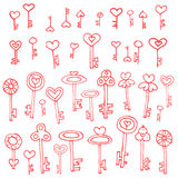 Keys of hearts hand-drawing set. Keys of hearts. Hand-drawing set of doodle keys. Easy to edit and recolor Stock Photo