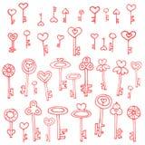 Keys of hearts hand-drawing set Stock Photo