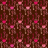 Keys and hearts pattern Royalty Free Stock Images