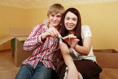 Keys at home. Family background: new home, family, safety Stock Image