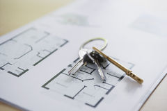 Keys On Home Blueprint Stock Photography