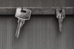 Keys on hooks. Black-and-white image. Royalty Free Stock Photo