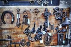 Keys and horseshoes for sell Stock Photo