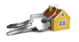 Keys and house. Large keys next to a small house. 3d image. white background royalty free illustration