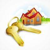 Keys with house on background. Vector illustration Royalty Free Stock Images