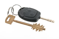 Keys from house and car. Isolated on white bacground Royalty Free Stock Images