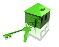 Keys and house in green. Conceptual 3d render of keys and house all in environmentally friendly green color. Room for text Stock Image