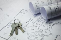 Keys on house plan Royalty Free Stock Images