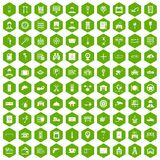 100 keys icons hexagon green. 100 keys icons set in green hexagon isolated vector illustration Stock Images