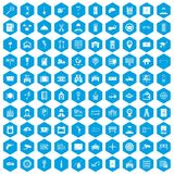 100 keys icons set blue. 100 keys icons set in blue hexagon isolated vector illustration stock illustration