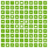 100 keys icons set grunge green. 100 keys icons set in grunge style green color isolated on white background vector illustration Stock Image