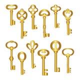 Keys icons set, isolated. Gold keys signs and symbols collection. Locking and unlocking doors vintage keys pictogram, illus royalty free stock images