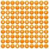 100 keys icons set orange. 100 keys icons set in orange circle isolated on white vector illustration Stock Illustration