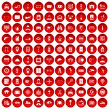 100 keys icons set red. 100 keys icons set in red circle isolated on white vector illustration Royalty Free Stock Photos