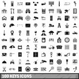 100 keys icons set, simple style. 100 keys icons set in simple style for any design vector illustration royalty free illustration