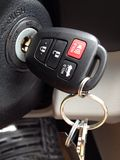 Keys in the Ignition in New Car Remote Entry Royalty Free Stock Photos