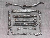 Keys. Iron keys from padlocks of 11-14 centuries Stock Images