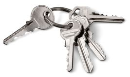 Keys. Isolated keyring key ring keychain key door royalty free stock photography