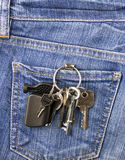 Keys in jeans pocket Stock Photography