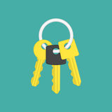 Keys on key ring illustration. Keys icon vector illustration in modern flat style. Gold key on keyring icon isolated on green background. Security sign. EPS 10 stock illustration