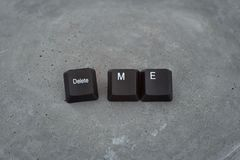 Keys keyboard inscription delete me. Concrete background royalty free stock photos