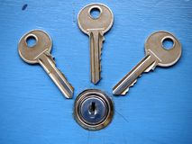 Keys and a keyhole on a blue door Royalty Free Stock Photography