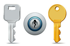 Keys and keyhole icons Royalty Free Stock Photos