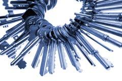 Keys on keyring. Blue tone Stock Photo