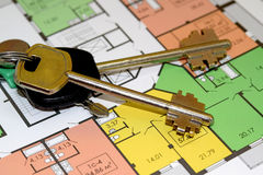 The keys and layout of a new apartment Stock Photo