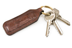 Keys with leather tag Stock Photography