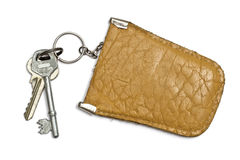 Keys and  leather tag Royalty Free Stock Image