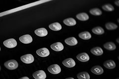 Keys with letters on an old typewriter. Keys with letters of the English language on an old typewriterr stock photos