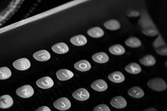 Keys with letters on an old typewriter. Keys with letters of the English language on an old typewriterr royalty free stock image