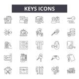 Keys line icons, signs, vector set, outline illustration concept stock illustration