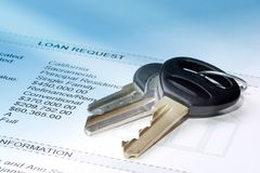 Keys On The Loan Request stock images