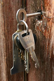 Keys in lock. Bunch of keys hanging from doorlock Stock Photo