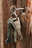 Keys in lock. Bunch of keys hanging from keyhole Royalty Free Stock Images
