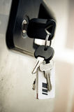 Keys into the lock of car Royalty Free Stock Photography