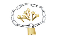 Keys, Lock and Chain Royalty Free Stock Photography