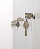 Keys and the locker doors royalty free stock photo