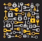Keys and locks on a black Stock Photo