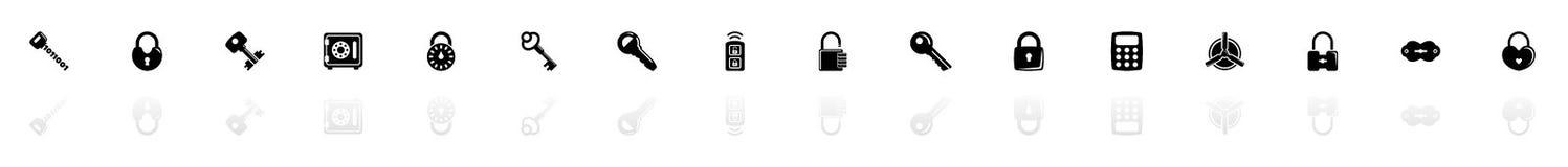 Keys and Locks - Flat Vector Icons. Keys and Locks icons - Black horizontal Illustration symbol on White Background with a mirror Shadow reflection. Flat Vector royalty free illustration