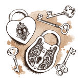 Keys and locks over watercolor background.  Vector illustration. Stock Images