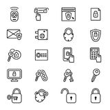 Keys and Locks Thin Line Icon Set. Vector Royalty Free Stock Photography
