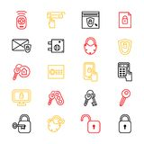 Keys and Locks Thin Line Icon Set. Vector. Keys and Locks Thin Line Icon Set Security Element Privacy Protect Technology Concept. Vector illustration of key and Royalty Free Stock Photography