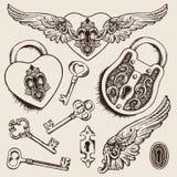 Keys and locks Vector illustration. Stock Photo